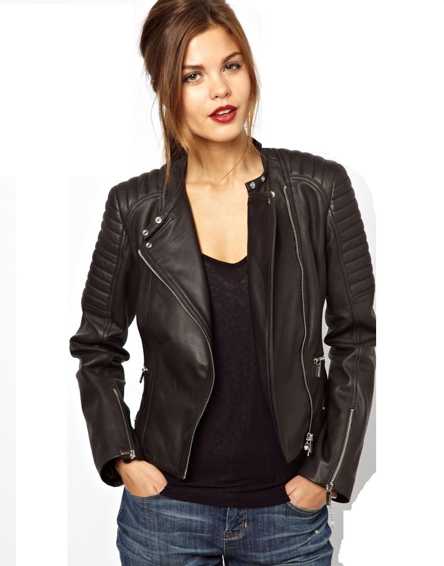 Women's Brown-Black Biker leather jacket