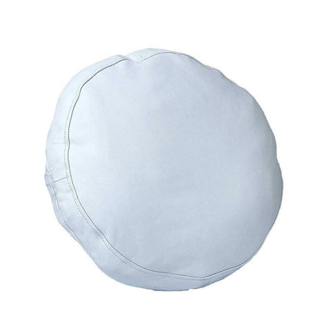 NOORA 100% Lambskin Round Leather Pillow Cover ,Sofa Cushion Case, Decorative Circular White Cushion Throw Covers for Living Room & Bedroom