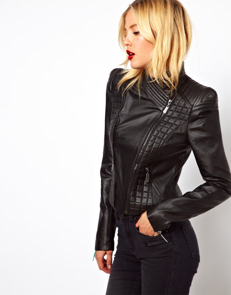 Women's Broad Shoulders Leather jacket