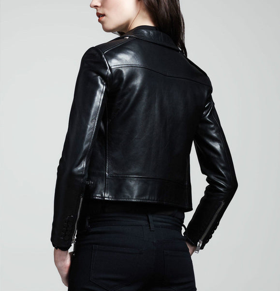 Women's Black Cropped biker jacket