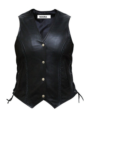 Noora New Women Motorcycle Biker Soft Leather WAISTCOAT, Black Colour Sleeveless VEST With Button Pocket & Braided Knot Sb235