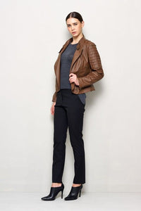women's brown fitted leather jacket - Noora International