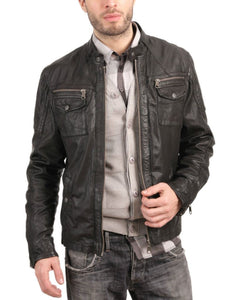men's black brown leather biker jacket - Noora International