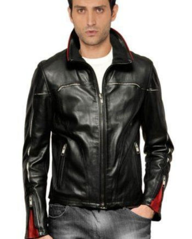 Men's fitted black leather jacket with red detailing,leather jacket from men,leather jackets online men,customized leather jackets men online,men leather jackets