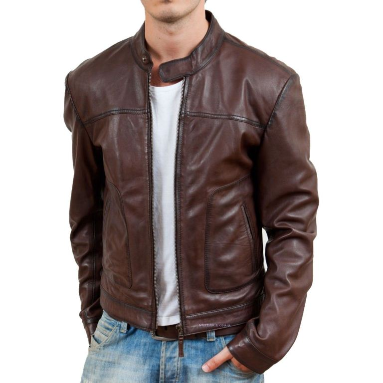 men's simple brown biker jacket - Noora International