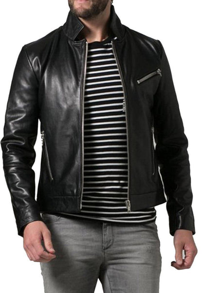 men's fitted black leather jacket with zipper pockets