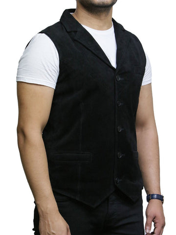 NOORA Classic Black Vest For Men Waistcoat Genuine Goat Suede Leather Classic CowBoy Blazer Jacket Sleevless Coat SJ191