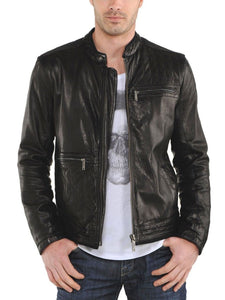 men's casual leather jacket with quilted designs - Noora International