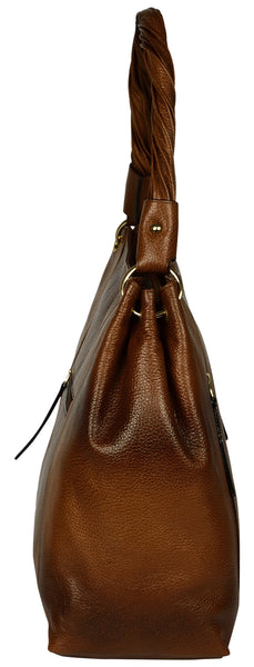 Women's brown baguette bag