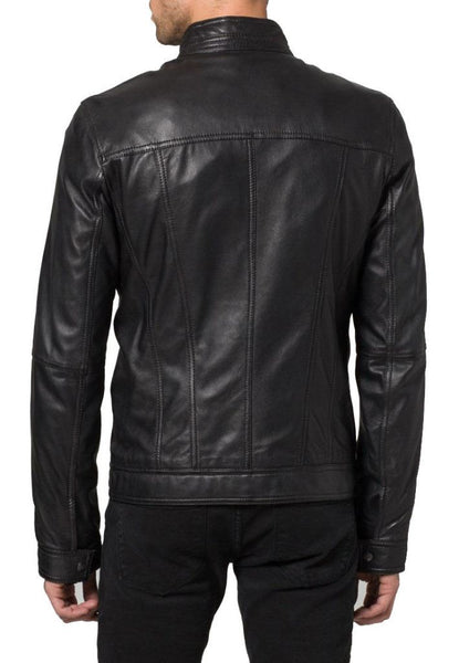 men's fitted black biker jacket