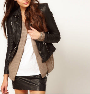 Women's Black Zip up fitted leather jacket
