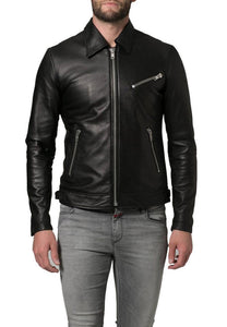 men's fitted black leather jacket with collar