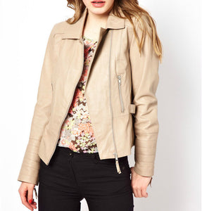 Women's Cream fitted leather jacket with a Cinched back