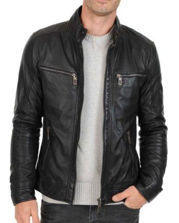 Men's fitted dark grey leather jacket with zipper pockets - Noora International