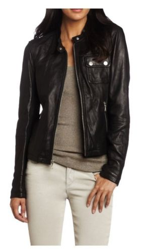Women's Black leather jacket with front pockets