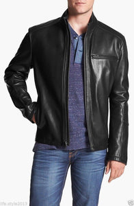 men's simple black leather jacket