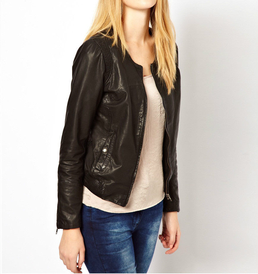 Women's Simple Brown leather jacket