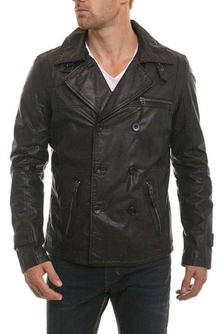 Men's Black Notched collar leather jacket - Noora International