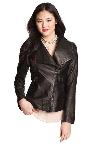 Women's black biker jacket for women