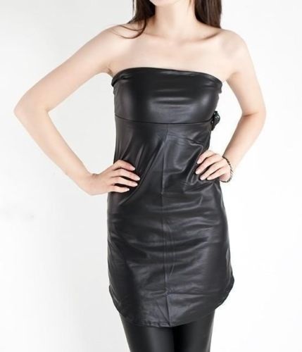 Black Solid Strapless leather top