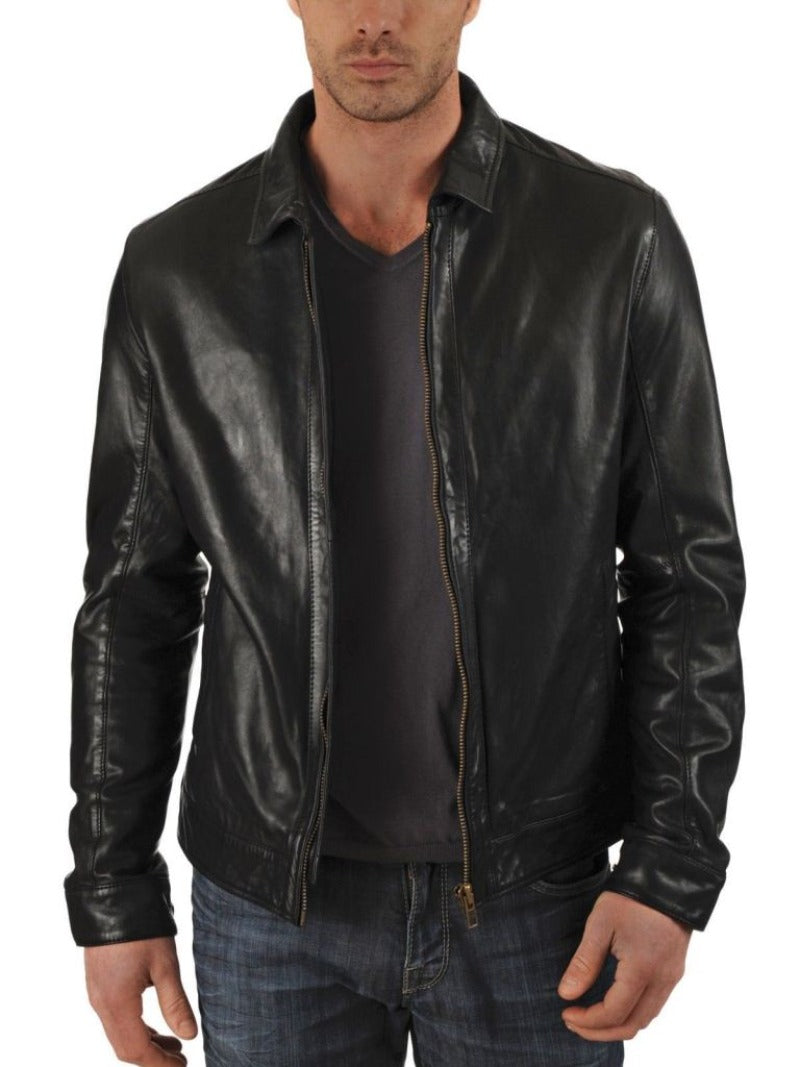 Men's fitted leather jacket with collar - Noora International