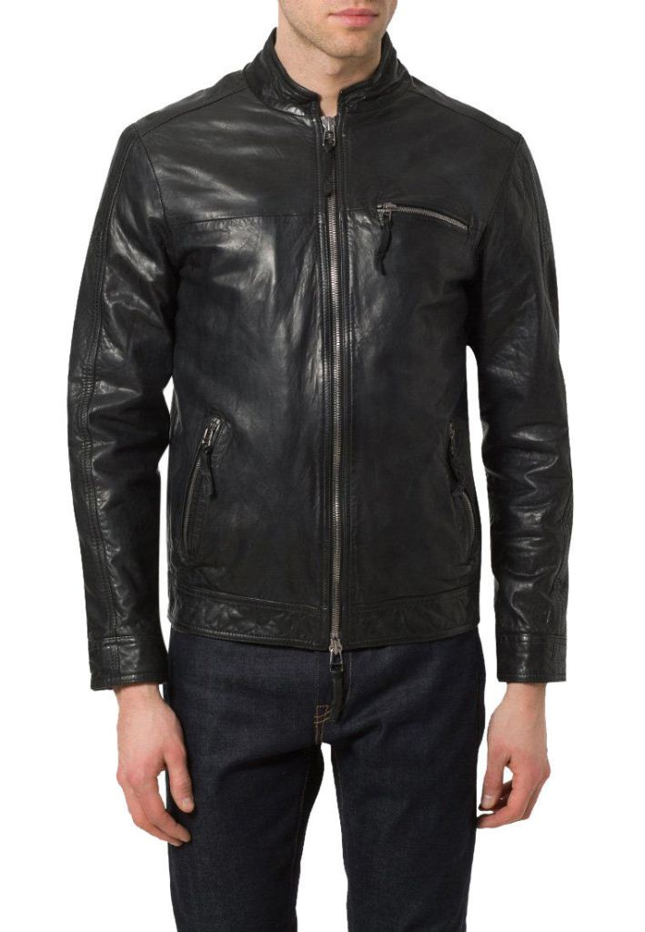 men's casual black leather jacket with zipper pockets