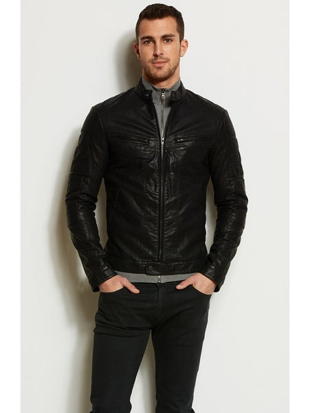men's fitted black biker jacket - Noora International