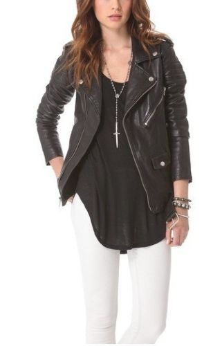 Women's Long Black Biker leather jacket with belt