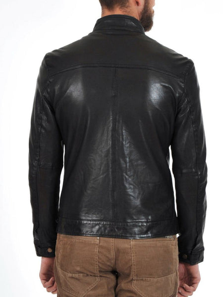 Men's dark grey biker jacket with brown zippers