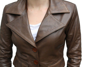 Women's Brown Notched Collar blazer leather jacket