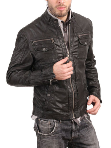 Men's brown biker jacket with front pockets and zippers