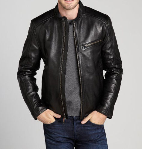 Men's simple black biker jacket with front zipper pocket