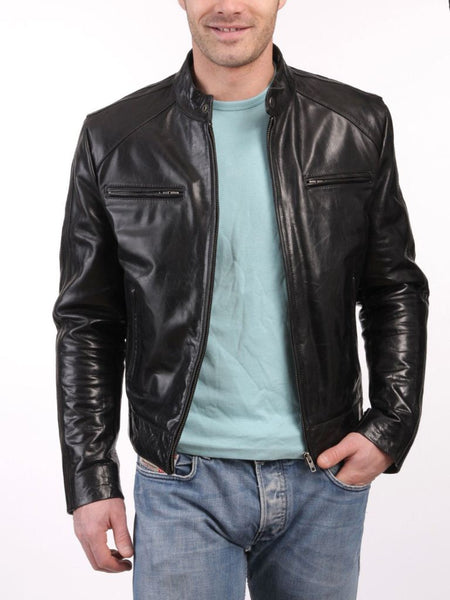 Men's black biker jacket with zipper pockets