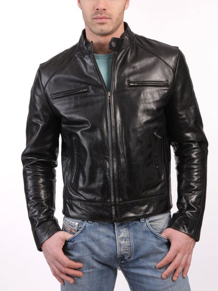 black biker jacket with zipper pockets