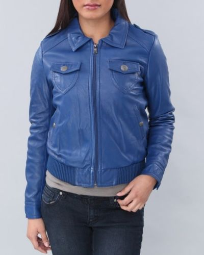 Women's Blue Collared leather jacket