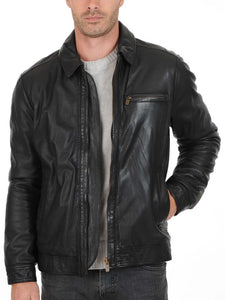Men's dark grey leather jacket with collar