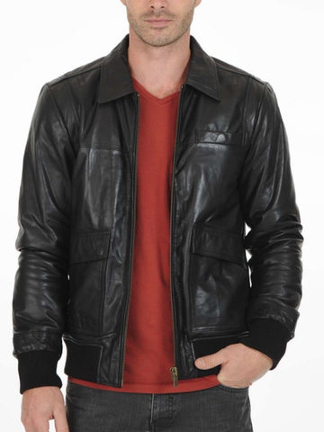 mens black bomber jacket collar