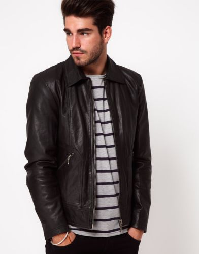 Men's Black leather jacket with collar - Noora International