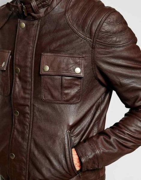NOORA Men's Leather Jacket Cowboy Shiny Antique Brown Lambskin Moto Jacket Biker Motorcycle Hand Made Real Leather Vintage Style Jacket SJ311