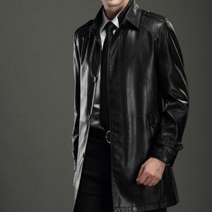 NOORA open trench coat Men's Wedding coat Gift for him outfit BLACK Vintage Long coat Genuine Leather Jacket Retro menswear Sj523