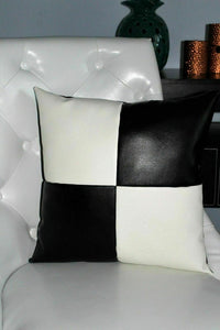 NOORA Black/White Checkered Genuine Leather Pillow Cushion and Cover Couch Decorative Aclity, Chess Pillocent High Quaw Square Cover SJ1
