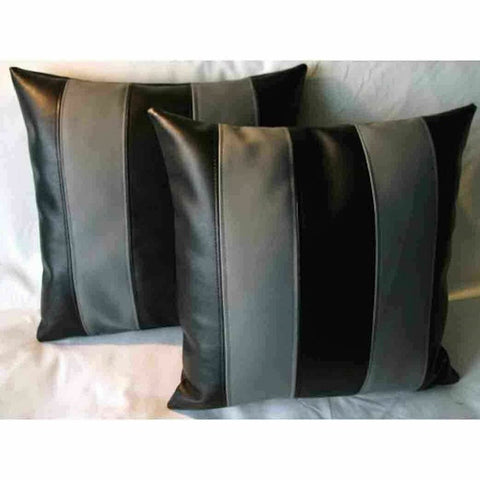 NOORA Designer Leather Pillow Square Cover Decorative For Couch Throw Pillow Handmade Cushion Black & Grey Stripe Paneled Cushion Case SJ10