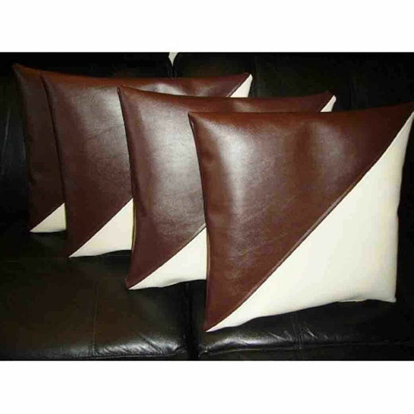 NOORA Designer Throw Pillow Cover Cushion Soft Leather Brown & Cream White Decorative Home Office Cushion Gifts Antique Cushion Cover SJ344
