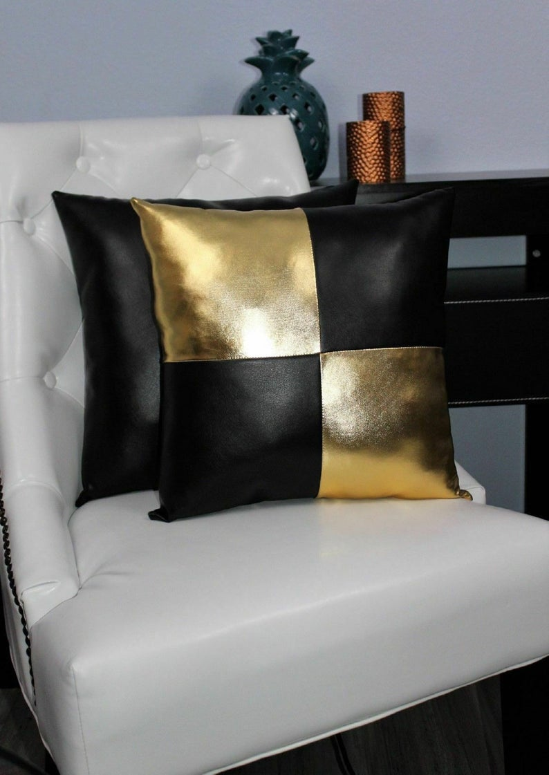 NOORA Doll house Throw Square Pillow Gold & Black colours , Two-Toned Soft Lambskin Leather Cushions Modern Doll house Miniatures SJ347