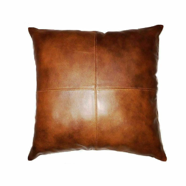 NOORA Golden brown Lambskin leather pillow cover Dark Tan Brown, Plain Square Leather Pillow Cover SJ116
