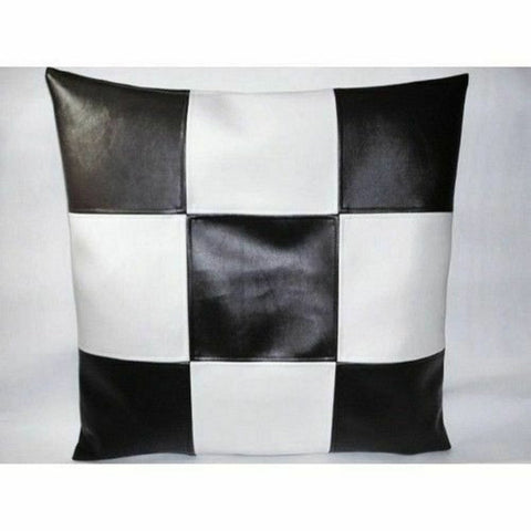 NOORA High Quality Cushion Pillow Square Cover Nature Home Decor Soft Lambskin leather Throw Pillows Black With White Chess Style Cove SJ350