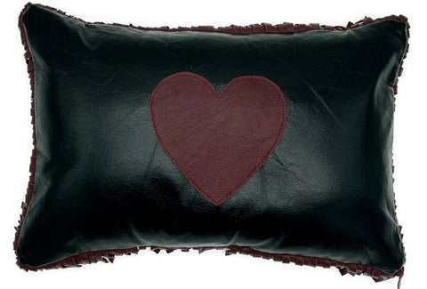NOORA Lambskin Leather Black Cushion Cover,HandMade Leather Housewarming Heart Lumbar Rectangle Pillow Cover,Couch Decorative Accent PS29