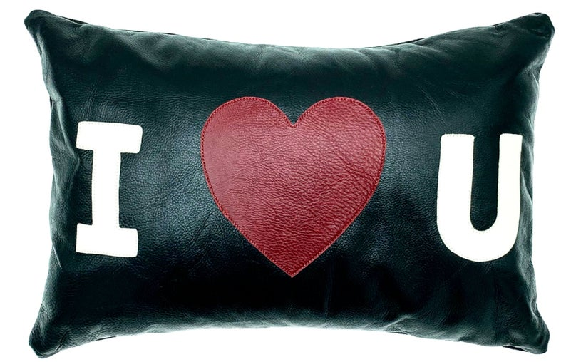 NOORA Lambskin Leather Cushion Cover,Hand Made Housewarming I Love You Lumbar Rectangle Heart Shape Pillow Cover Decorative Accent PS23