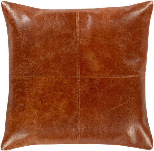 NOORA Lambskin leather Barrington Burnt Orange And Camel Square Pillow Cover SB75
