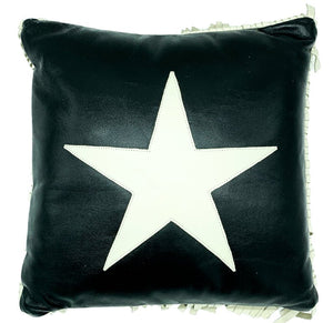NOORA Lambskin leather Star shap , side fringe Pillow cover Black & white, Square Leather Pillow Cover Housewarming Gift,Halloween, PS74
